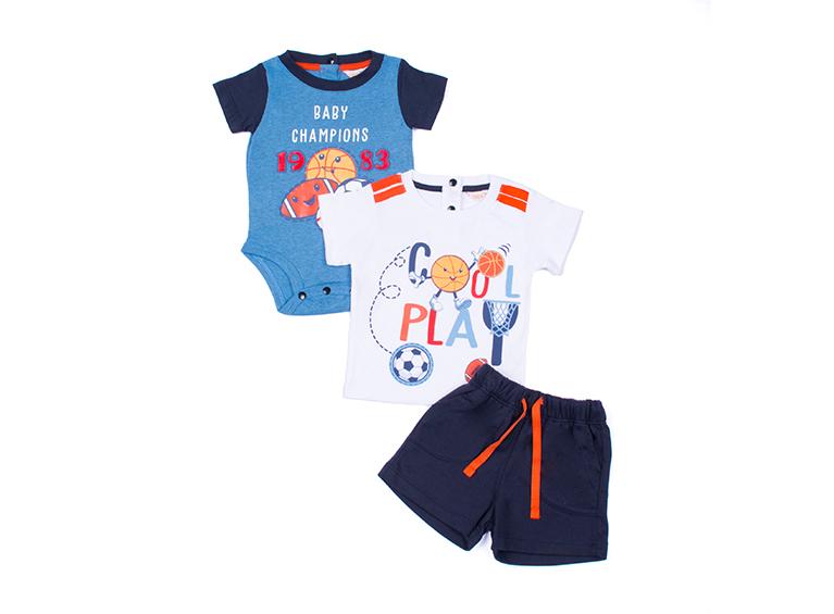 Set de 3 piezas bebé shorts