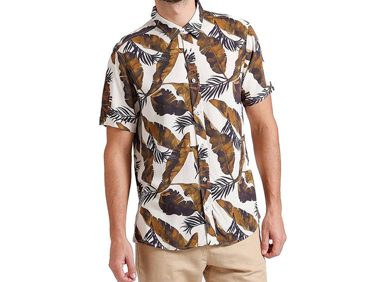 Camisa slim diseño hojas